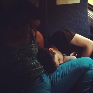 Shayla and Matt asleep on auto train